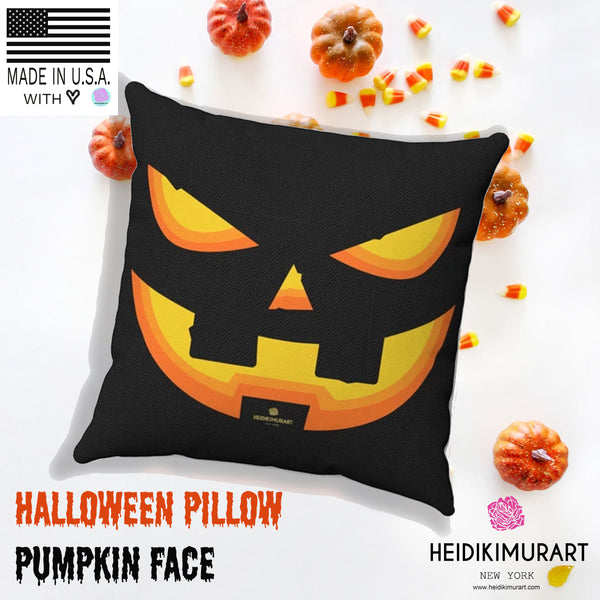 Halloween Pumpkin Smiley Face Premium Spun Polyester Square Pillow- Made in USA-Pillow Case-Heidi Kimura Art LLC