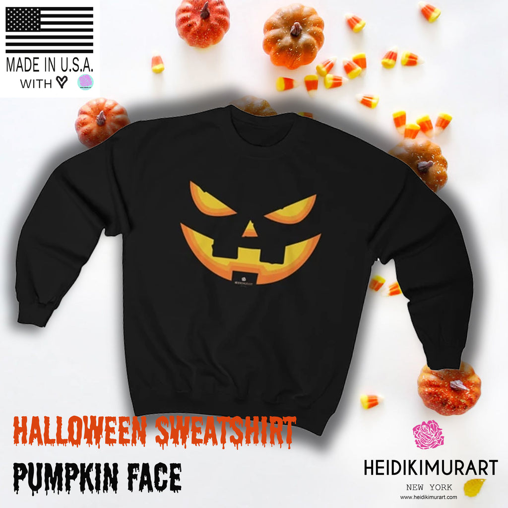 Pumpkin Face Mens Crew Neck Pullover Long Sleeves Warm and Comfortable Casual
