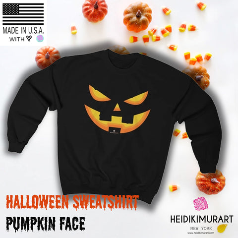 Orange Smiling Pumpkin Face Unisex Heavy Blend Designer Crewneck Sweatshirt-Long-sleeve-Heidi Kimura Art LLC