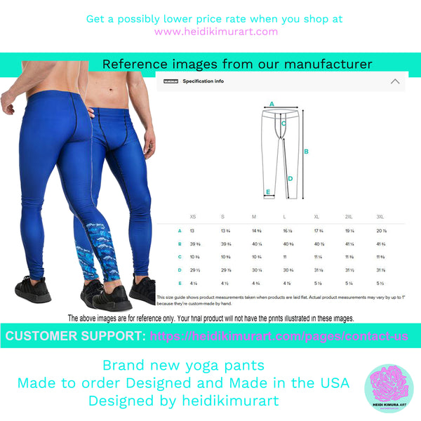 Blue Marble Acrylic Pour Abstract Print Sexy Meggings Men's Workout Gym Tights-Men's Leggings-Heidi Kimura Art LLC