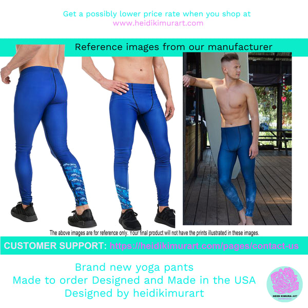 Designer Aqua Blue Water Texture Men's Leggings Tights Pants Meggings- Made in USA/EU-Men's Leggings-Heidi Kimura Art LLC