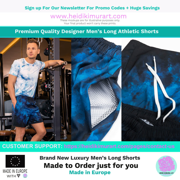 Blue Purple Futuristic Chevron Rainbow Ombre Print Men's Athletic Long Shorts- Made in EU-Men's Long Shorts-Heidi Kimura Art LLC