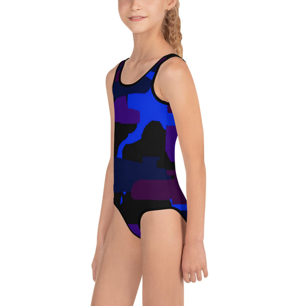 Purple Blue Army Military Print Girl's Kids Swimsuit Bathing Suit - Made in USA-Kid's Swimsuit (Girls)-Heidi Kimura Art LLC