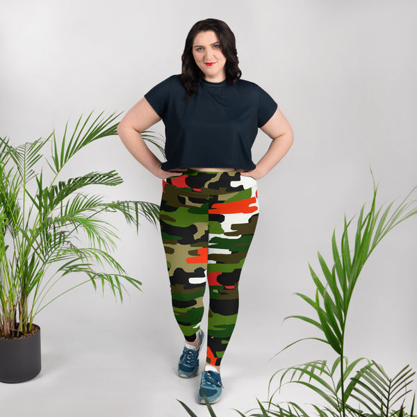 White Orange Green Military Print Women's Tights Plus Size Leggings - Made in USA-Women's Plus Size Leggings-Heidi Kimura Art LLC White Orange Green Camo Tights, Orange Green Military Print Camouflage Camo Women's Yoga Pants Tights Plus Size Leggings - Made in USA/EU/MX (US Size: 2XL-6XL)