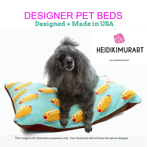Best Pink Striped Pet Bed, Bright Colorful Best Striped Modern Dog Indoor Pet Bed-Made in USA (Size: S-L) - Heidikimurart Limited