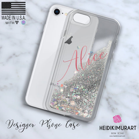 Pink Foil Custom Name Designer Shiny Liquid Glitter Phone Case-Made in USA-Phone Case-Heidi Kimura Art LLC
