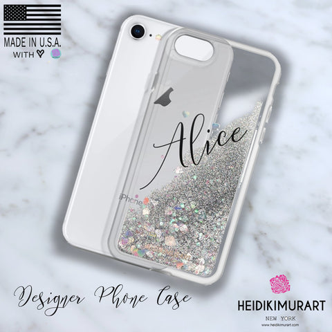 Custom Name Shiny Silver/ Gold/ Pink Sparkling Liquid Glitter Phone Case-Made in USA-Phone Case-Heidi Kimura Art LLC