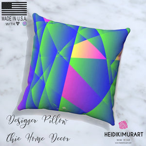 Geometric Purple Blue Print Pillow Spun Polyester Square Pillow Cover Set - 14x14, 16x16, 18x18, 20x20 inches, Made in USA