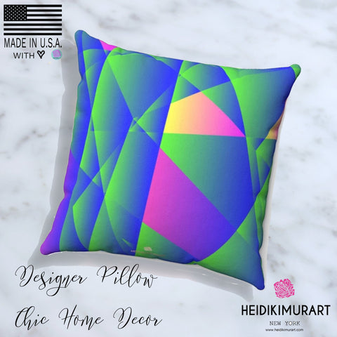 Geometric Diamond Purple Blue Print Pillow Spun Polyester Square Pillow- Made in USA-Pillow-Heidi Kimura Art LLC