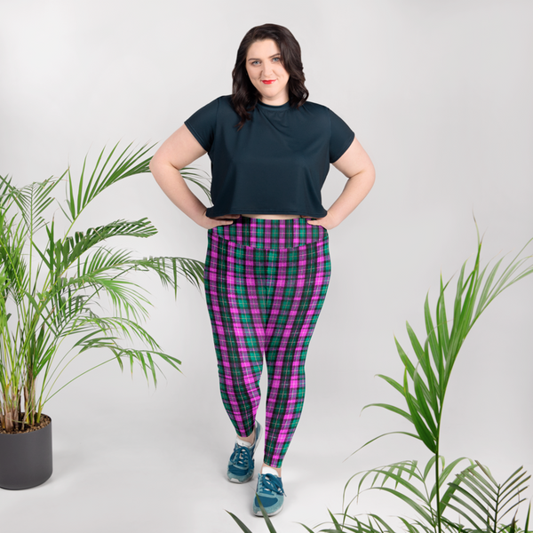 Pink Green Tartan Plaid Scottish Print Women's Plus Size Soft Leggings - Made in USA/EU-Women's Plus Size Leggings-Heidi Kimura Art LLC