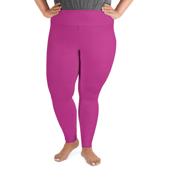 Gum Hot Solid Pink Premium Women's Plus Size Leggings Yoga Pants -Made in USA/EU-Women's Plus Size Leggings-Heidi Kimura Art LLC