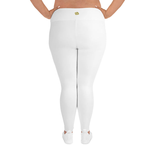 White Color Women's Leggings, Plus Size Long Yoga Pants -Made in USA (US Size: 2XL-6XL)-Women's Plus Size Leggings-Heidi Kimura Art LLC
