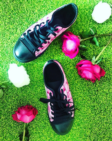 Ishikari Pink Rose Floral Flower Designer Low Top Women's Sneakers Shoes (US Size 6-12), Floral Sneakers, Pink Sneaker, Flower Print Shoes Ishikari Pink Rose Floral Flower Print Designer Low Top Women's Sneakers Shoes (US Size 6-12)