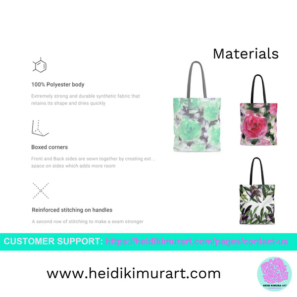 Gray Rose Floral Tote Bag, Flower Print Women's Premium Market Tote Bag - Made in USA-Tote Bag-Heidi Kimura Art LLC
