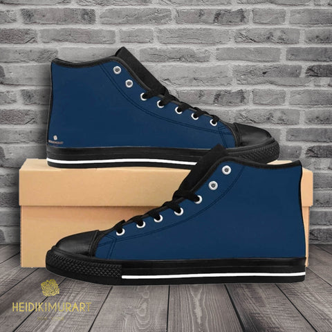 Prussian Blue Solid Color Women's High Top Sneakers Running Shoes (US Size: 6-12)-Women's High Top Sneakers-US 9-Heidi Kimura Art LLC Blue Solid Color Women's Sneakers, Prussian Blue Solid Color Women's High Top Sneakers Running Shoes (US Size: 6-12)