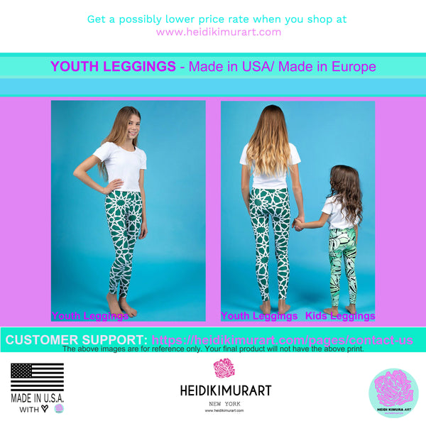 Black Plaid Girl Bottoms Winter Essentials Sports Gym Youth Leggings, Made in USA-Youth's Leggings-Heidi Kimura Art LLC