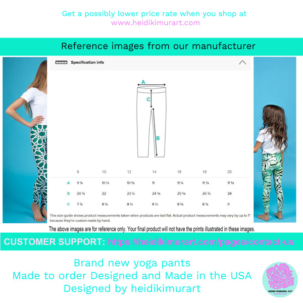 Blue Polka Dots Print Black Premium Youth Leggings Cute Yoga Pants - Made in USA/ EU-Youth's Leggings-Heidi Kimura Art LLC