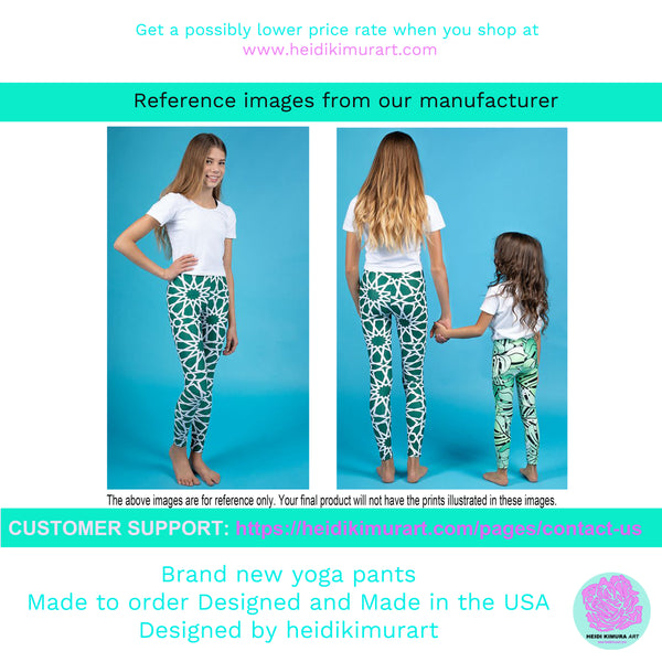 Girl Bottoms Winter Essentials Pink Plaid Sports Gym Youth Leggings, Made in USA/EU-Youth's Leggings-Heidi Kimura Art LLC