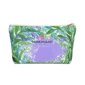 French Lavender Floral Print Accessory Pouch with T-bottom - Made in USA-Accessory Pouch-White-Small-Heidi Kimura Art LLC