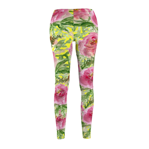 Yellow Rose Floral Print Women's Tights / Casual Leggings - Made in USA-Casual Leggings-Heidi Kimura Art LLC