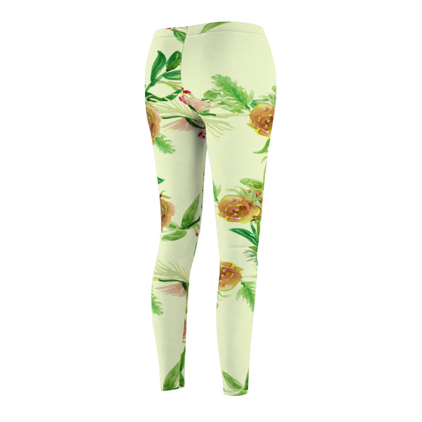 Light Yellow Rose Floral Print Women's Tights / Casual Leggings - Made in USA (US Size: XS-2XL)-Casual Leggings-Heidi Kimura Art LLC