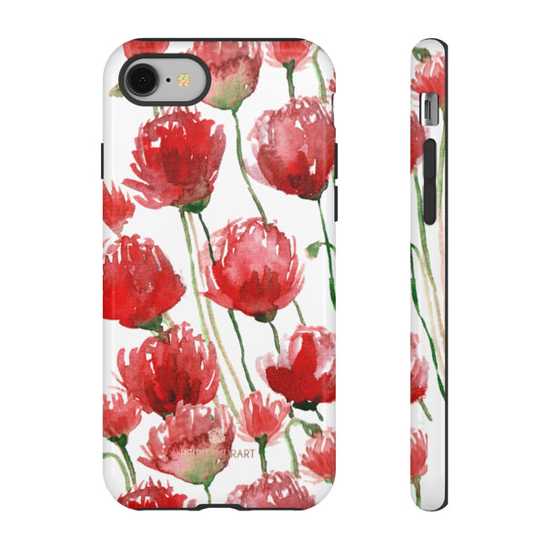 Red Tulips Floral Tough Cases, Roses Flower Print Best Designer Phone Case-Made in USA-Phone Case-Printify-iPhone 8-Glossy-Heidi Kimura Art LLC