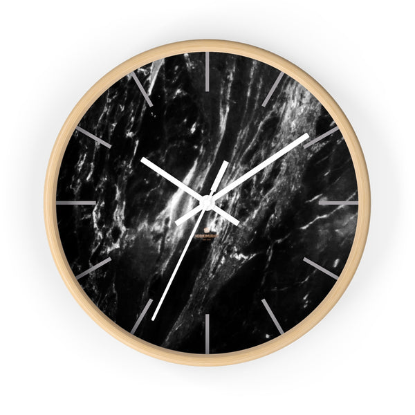 Elegant Black & White Marble Print Art Large Indoor Designer Wall Clock-Made in USA-Wall Clock-10 in-Wooden-White-Heidi Kimura Art LLC