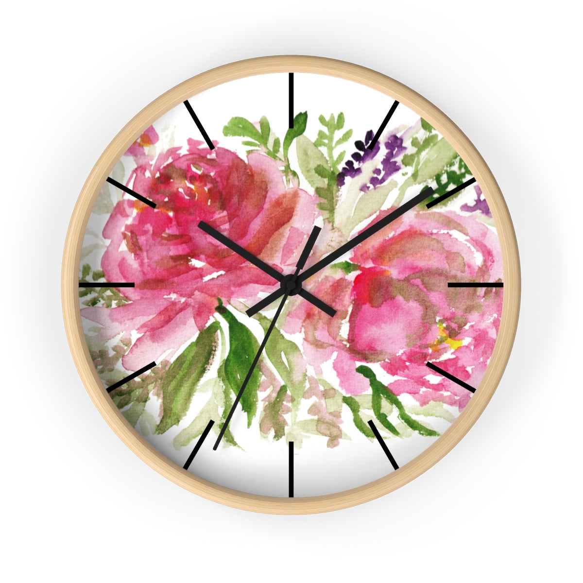Pink Spring Rose Floral Print Flower 10 inch Diameter Flower Wall Clock - Made in USA-Wall Clock-Wooden-Black-Heidi Kimura Art LLC