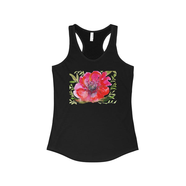 Red Designer Best Floral Women's Ideal Racerback Tank - Made in the USA-Tank Top-Solid Black-L-Heidi Kimura Art LLC Red Hibiscus Flower Tank Top, Red Designer Best Floral Women's Ideal Racerback Tank - Made in the U.S.A. (US Size: XS-2XL)