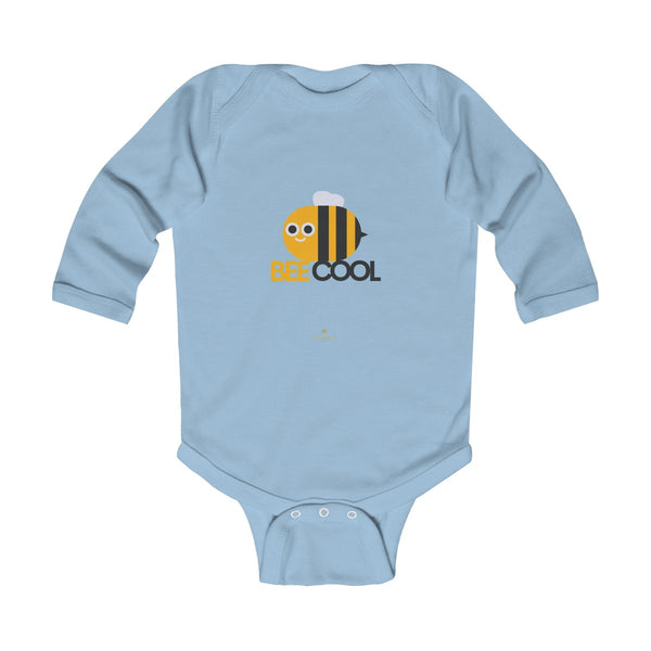 Bee Infant Long Sleeve Bodysuit, Be Cool Cute Baby Boy or Girls Kids Clothes- Made in USA-Infant Long Sleeve Bodysuit-Light Blue-NB-Heidi Kimura Art LLC