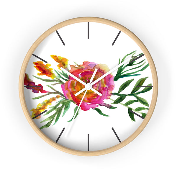 Pink Rose Watercolor Floral Print 10 inch Diameter Flower Wall Clock - Made in USA-Wall Clock-Wooden-White-Heidi Kimura Art LLC
