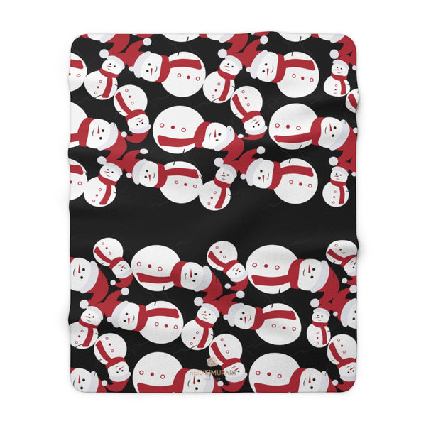 "Black White Red Christmas Cute Fluffy Snowman Print Cozy Sherpa Fleece Blanket-Blanket-60"" x 80""-Heidi Kimura Art LLC Black Christmas Fleece Blanket, Black White Red Christmas Cute Fluffy Snowman Print Designer Soft Comfortable Sherpa Fleece Blanket Cozy Sherpa 100% Polyester Fleece Blanket With Plush Backside - Made in USA"