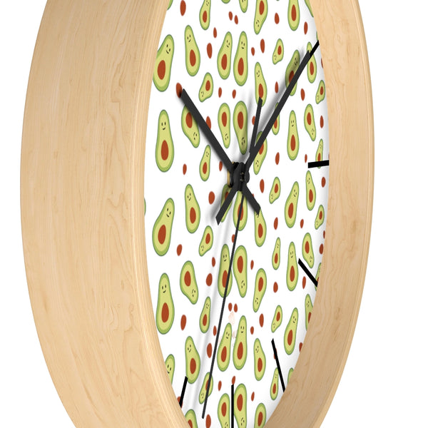 "Avocado Print Large Wall Clocks, 10"" Dia. Clock For Avocado Vegan Lovers- Made in USA-Wall Clock-Heidi Kimura Art LLC"