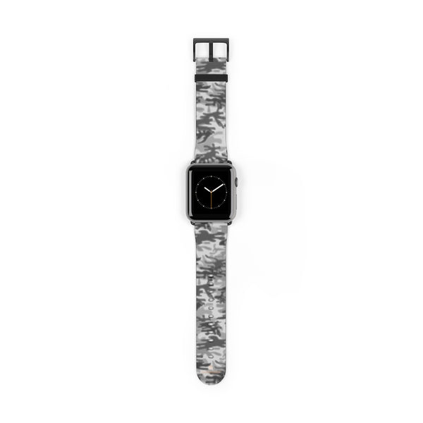 Light Grey Classic Camo Print 38mm/42mm Watch Band For Apple Watch- Made in USA-Watch Band-42 mm-Black Matte-Heidi Kimura Art LLC