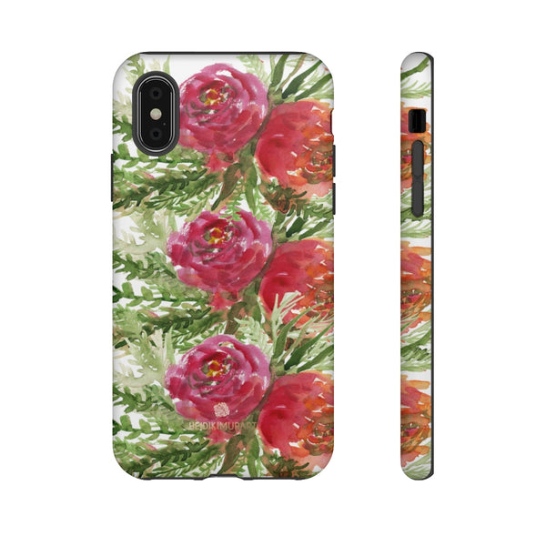 Red Orange Floral Phone Case, Flower Print Tough Designer Phone Case -Made in USA-Phone Case-Printify-iPhone XS-Matte-Heidi Kimura Art LLC