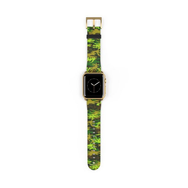 Green Brown Camo Military Print 38mm/42mm Watch Band For Apple Watch- Made in USA-Watch Band-38 mm-Gold Matte-Heidi Kimura Art LLC
