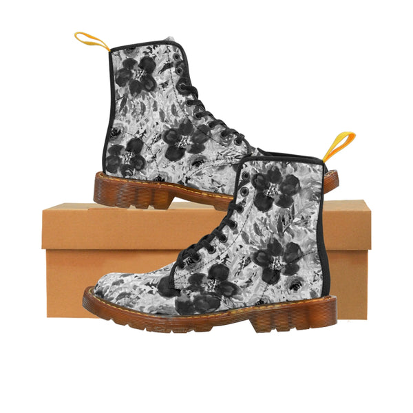 Black Floral Women's Canvas Boots-Shoes-Printify-Brown-US 9-Heidi Kimura Art LLC Black Floral Women's Canvas Boots, Flower Rose Print Ladies Fashion Lace-Up Hiking Boots, Best Ladies' Combat Boots, Designer Women's Winter Lace-up Toe Cap Hiking Boots Shoes For Women (US Size 6.5-11)