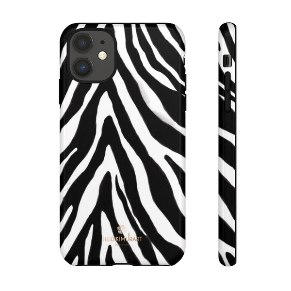 Zebra Stripe Phone Case, Animal Print Tough Designer Phone Case -Made in USA-Phone Case-Printify-iPhone 11-Glossy-Heidi Kimura Art LLC