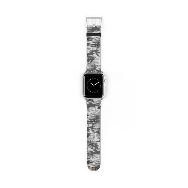 Light Grey Classic Camo Print 38mm/42mm Watch Band For Apple Watch- Made in USA-Watch Band-42 mm-Silver Matte-Heidi Kimura Art LLC