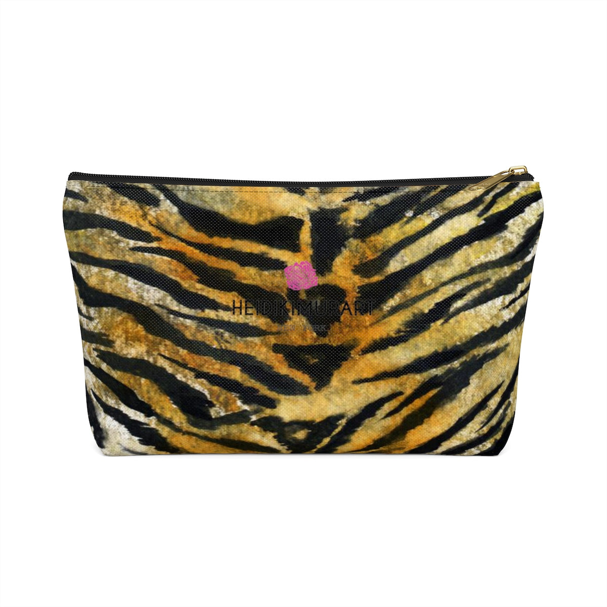 Wild Orange Bengal Tiger Stripe Animal Print Accessory Pouch w T-bottom-Accessory Pouch-Black-Small-Heidi Kimura Art LLC