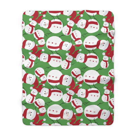 "Green White Red Christmas Cute Fluffy Snowman Print Cozy Sherpa Fleece Blanket-Blanket-60"" x 80""-Heidi Kimura Art LLC"