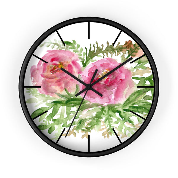 Pink Rose Vintage Style Floral Print Rose Flower 10 inch Diameter Wall Clock-Made in USA-Wall Clock-Black-Black-Heidi Kimura Art LLC