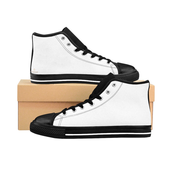 White Princess Solid Color Women's High Top Sneakers Running Shoes (US Size: 6-12)-Women's High Top Sneakers-US 9-Heidi Kimura Art LLC White Women's Sneakers, Modern Minimalist White Princess Solid Color Women's High Top Minimalist Fashion Sneakers Running Shoes (US Size: 6-12)