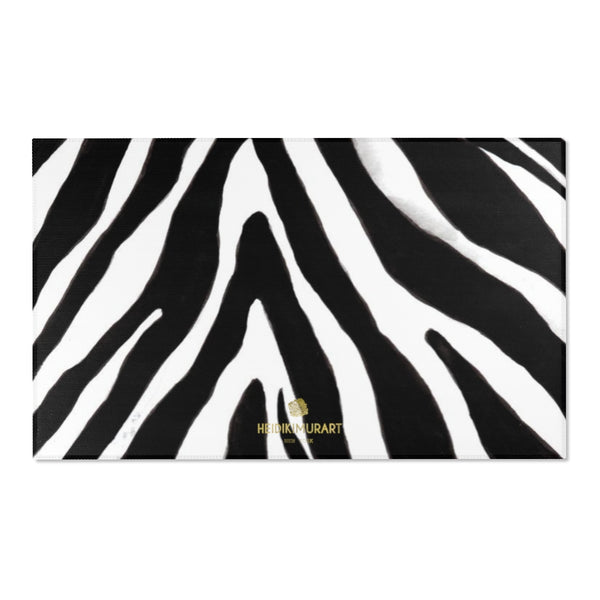 "Deluxe White Black Zebra Animal Print Designer 24x36, 36x60, 48x72 inches Area Rugs-Area Rug-60"" x 36""-Heidi Kimura Art LLC"