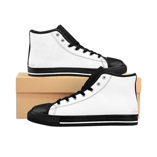 Bright White Solid Color Premium Quality Men's High-Top Sneakers Running Shoes-Men's High Top Sneakers-Black-US 9-Heidi Kimura Art LLC