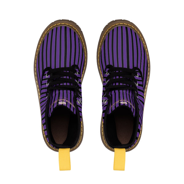 Purple Striped Print Men's Boots, Black Stripes Best Hiking Winter Boots Laced Up Shoes For Men-Shoes-Printify-Heidi Kimura Art LLC