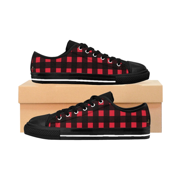Red Buffalo Plaid Men's Sneakers, Preppy Low Top Shoes For Men-Shoes-Printify-Black-US 9-Heidi Kimura Art LLC Black Red Plaid Men's Sneakers, Buffalo Plaid Preppy Men's Low Tops, Premium Men's Nylon Canvas Tennis Fashion Sneakers Shoes (US Size: 7-14)
