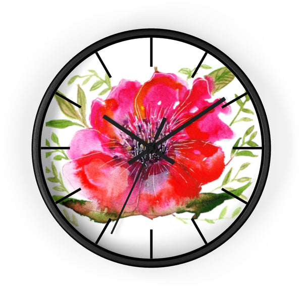 "Pink Hibiscus Floral Print Wall Clock, 10"" Dia. Modern Unique Indoor Clock-Made in USA-Wall Clock-Black-Black-Heidi Kimura Art LLC v"