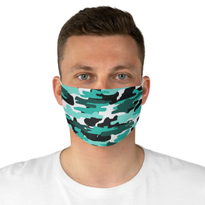 "Blue Camouflage Print Face Mask, Adult Military Style Modern Fabric Face Mask-Made in USA-Accessories-Printify-One size-Heidi Kimura Art LLC Blue Camouflage Print Face Mask, Adult Military Style Fashion Face Mask For Men/ Women, Designer Premium Quality Modern Polyester Fashion 7.25"" x 4.63"" Fabric Non-Medical Reusable Washable Chic One-Size Face Mask With 2 Layers For Adults With Elastic Loops-Made in USA"