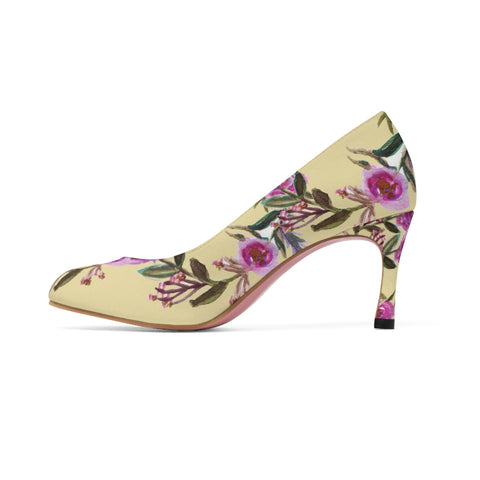 Floral Garden Purple Pink Rose Designer Women's High Heels Canvas Shoe (US Size: 5-11)-3 inch Heels-Heidi Kimura Art LLC